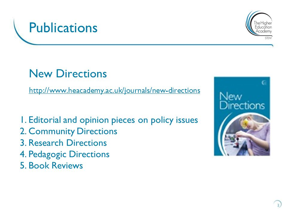 New Directions http://www.heacademy.ac.uk/journals/new-directions 2 Publications 1.