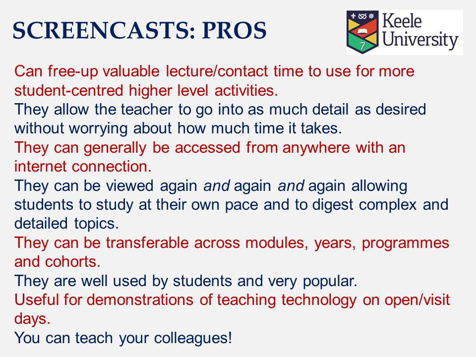 Can free-up valuable lecture/contact time to use for more student-centred higher level activities.