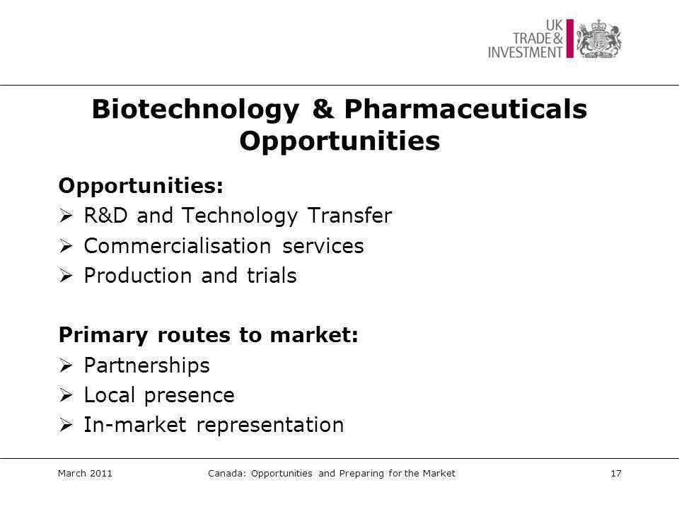 Biotech/Pharma: Key Events  BioContact www.biocontact.qc.ca  BioFinance www.biofinance.ca  BioPartnering North America www.techvision.com/bpn/  BIO International Convention www.bio.org March 2011Canada: Opportunities and Preparing for the Market18