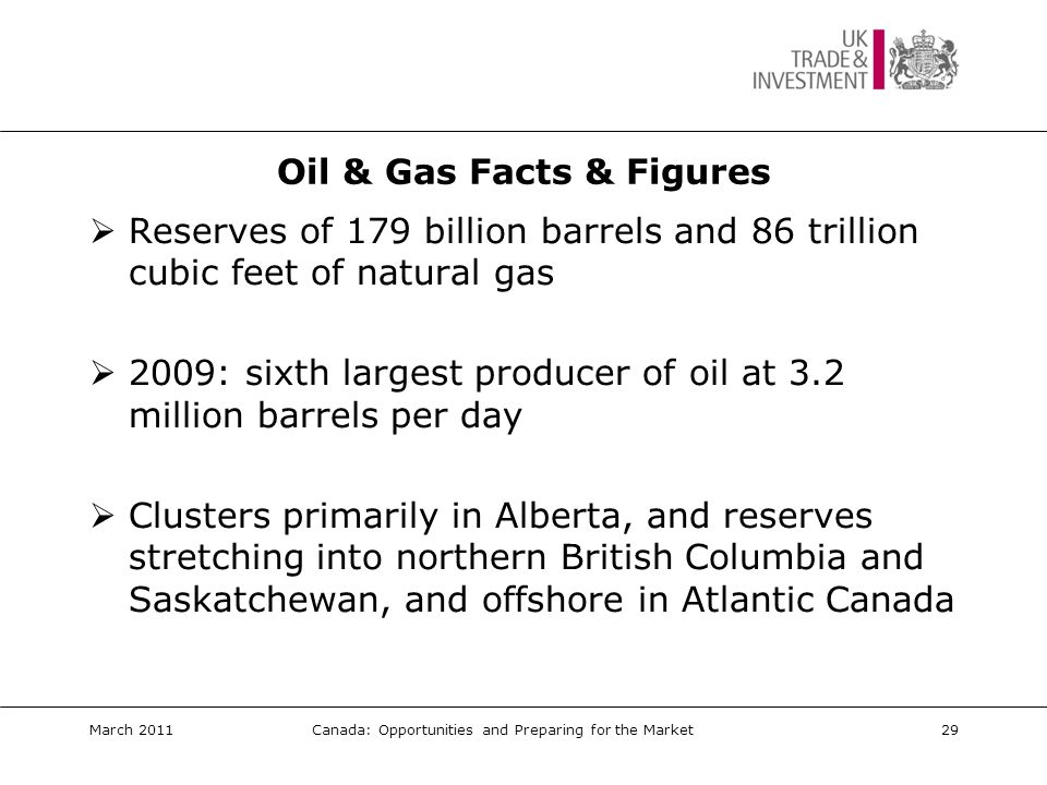 Oil & Gas Opportunities Opportunities:  In situ technologies  Waste water / water reclamation technologies  Carbon capture & storage technologies  Project management; asset & risk management  Recruitment  Pipeline construction & maintenance  Offshore technology Primary routes to market:  Direct to end user  In-market representation via agent/distributor  Local presence March 2011Canada: Opportunities and Preparing for the Market30