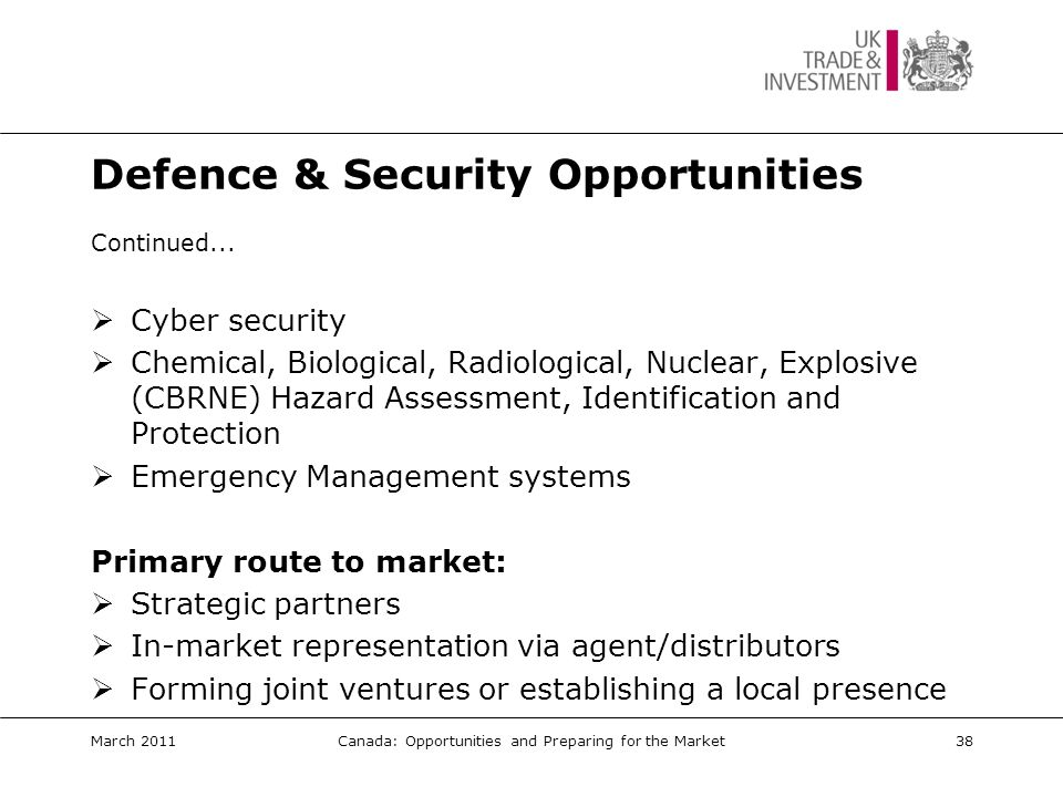 Defence & Security Events  Security Trade Mission 26/27 October 2011 Ottawa, Ontario March 2011Canada: Opportunities and Preparing for the Market39