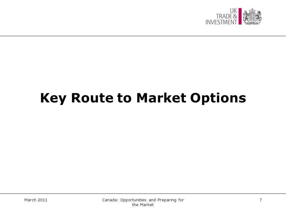 Key Route to Market Options  Establishing a local presence in the market  In-market representation e.g.