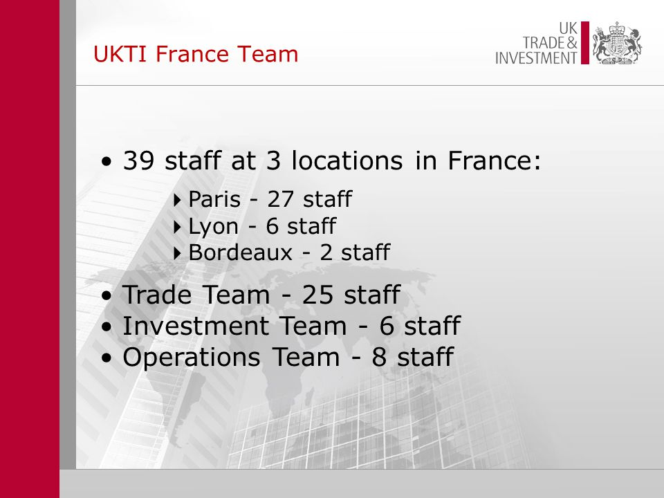 UKTI France Team 39 staff at 3 locations in France:  Paris - 27 staff  Lyon - 6 staff  Bordeaux - 2 staff Trade Team - 25 staff Investment Team - 6 staff Operations Team - 8 staff