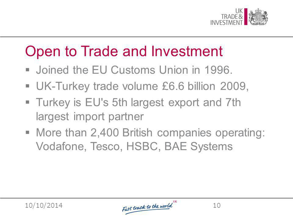Open to Trade and Investment  Joined the EU Customs Union in 1996.