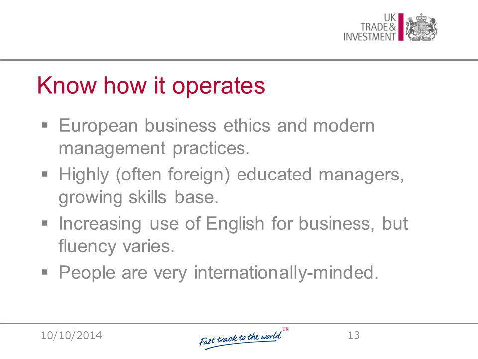 Know how it operates  European business ethics and modern management practices.