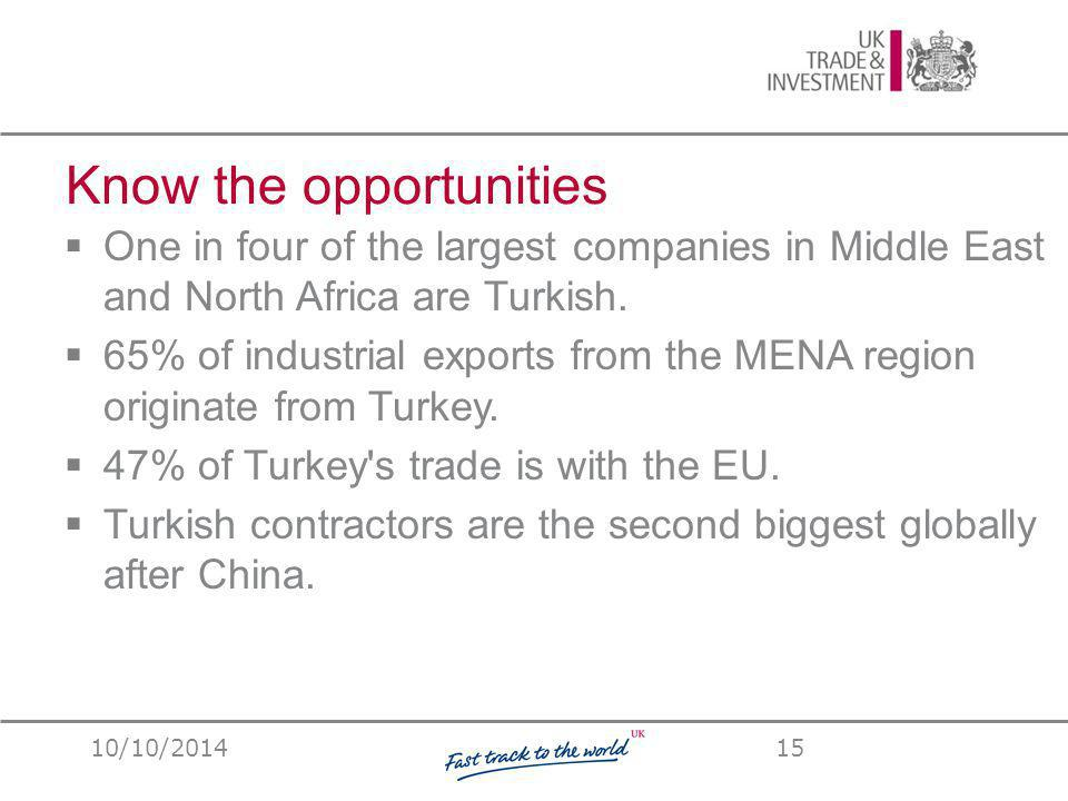 15  One in four of the largest companies in Middle East and North Africa are Turkish.