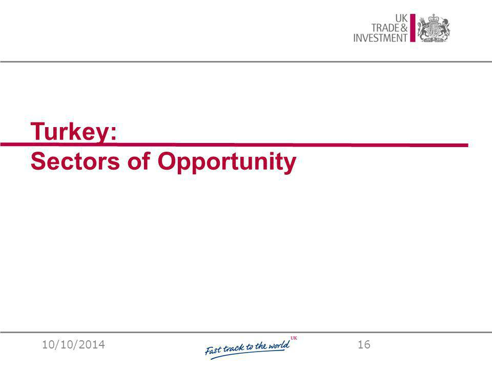 UKTI Turkey Turkey: Sectors of Opportunity 10/10/201416
