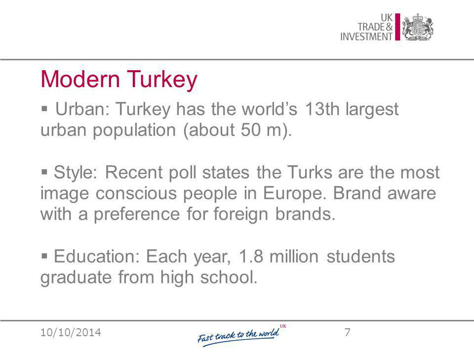 Modern Turkey  Urban: Turkey has the world's 13th largest urban population (about 50 m).