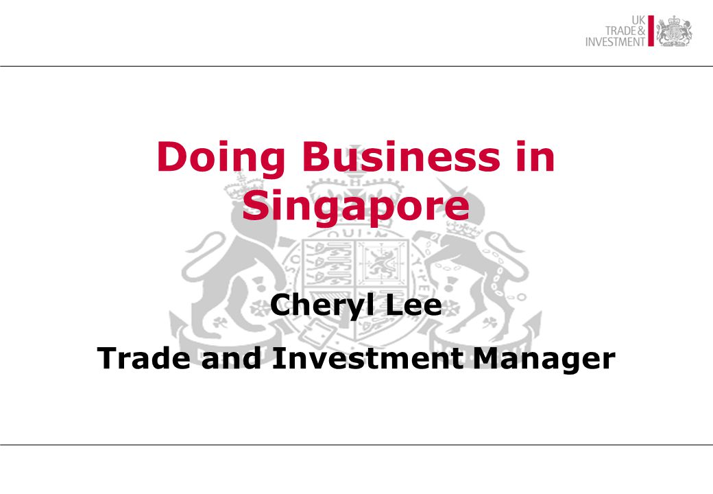 SINGAPORE AN OVERVIEW British High Commissioner Mr Alan Hunt CMG Doing Business in Singapore Cheryl Lee Trade and Investment Manager