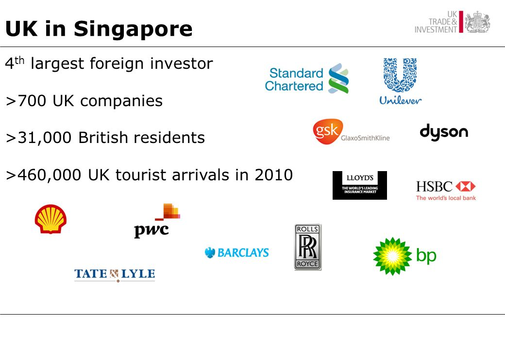 4 th largest foreign investor >700 UK companies >31,000 British residents >460,000 UK tourist arrivals in 2010 UK in Singapore