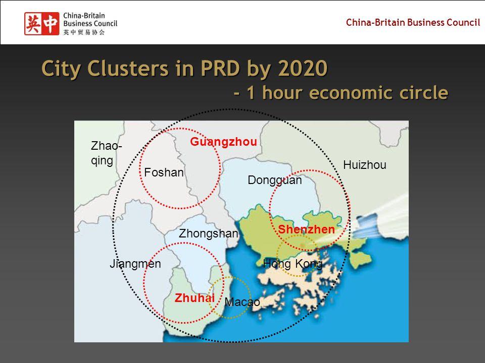 China-Britain Business Council City Clusters in PRD by 2020 - 1 hour economic circle - 1 hour economic circle Shenzhen Zhuhai Jiangmen Zhongshan Foshan Zhao- qing Macao Hong Kong Dongguan Guangzhou Huizhou