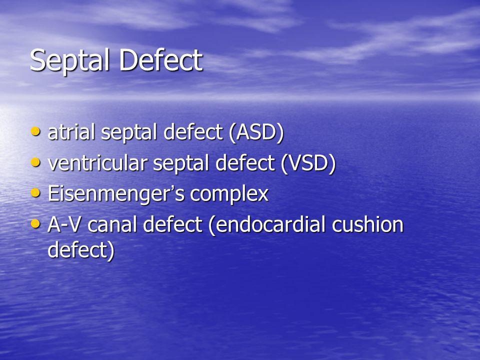 Septal Defect atrial septal defect (ASD) atrial septal defect (ASD) ventricular septal defect (VSD) ventricular septal defect (VSD) Eisenmenger ' s co