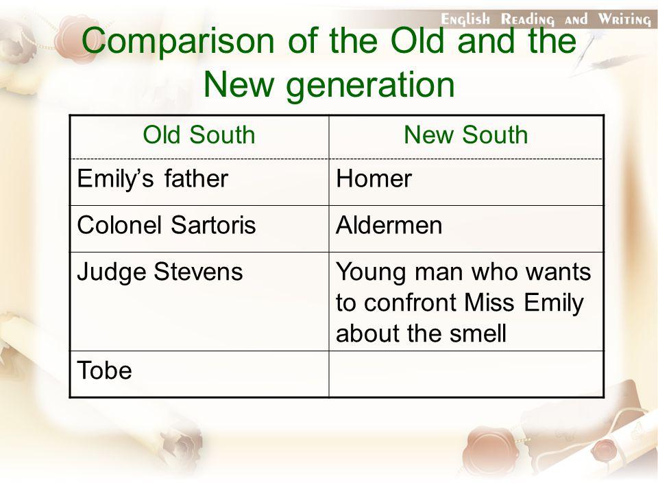 Comparison of the Old and the New generation Old SouthNew South Emily's fatherHomer Colonel SartorisAldermen Judge StevensYoung man who wants to confront Miss Emily about the smell Tobe