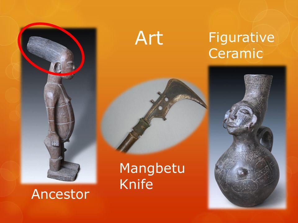 Art Mangbetu Knife Ancestor Figurative Ceramic