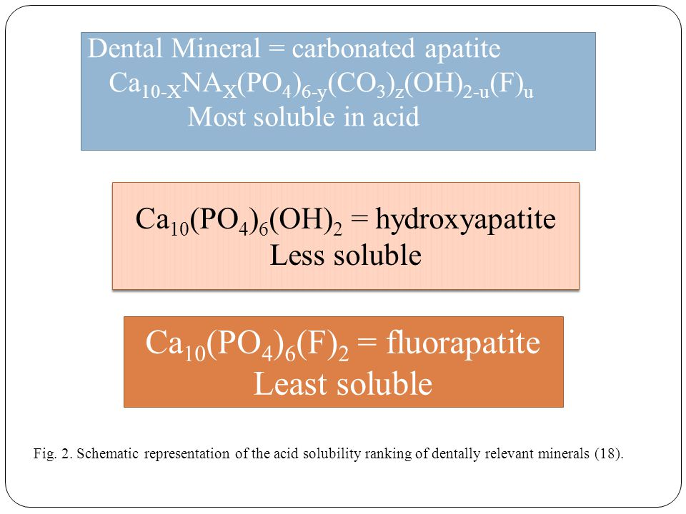 Fig. 2. Schematic representation of the acid solubility ranking of dentally relevant minerals (18). Dental Mineral = carbonated apatite Ca 10-X NA X (