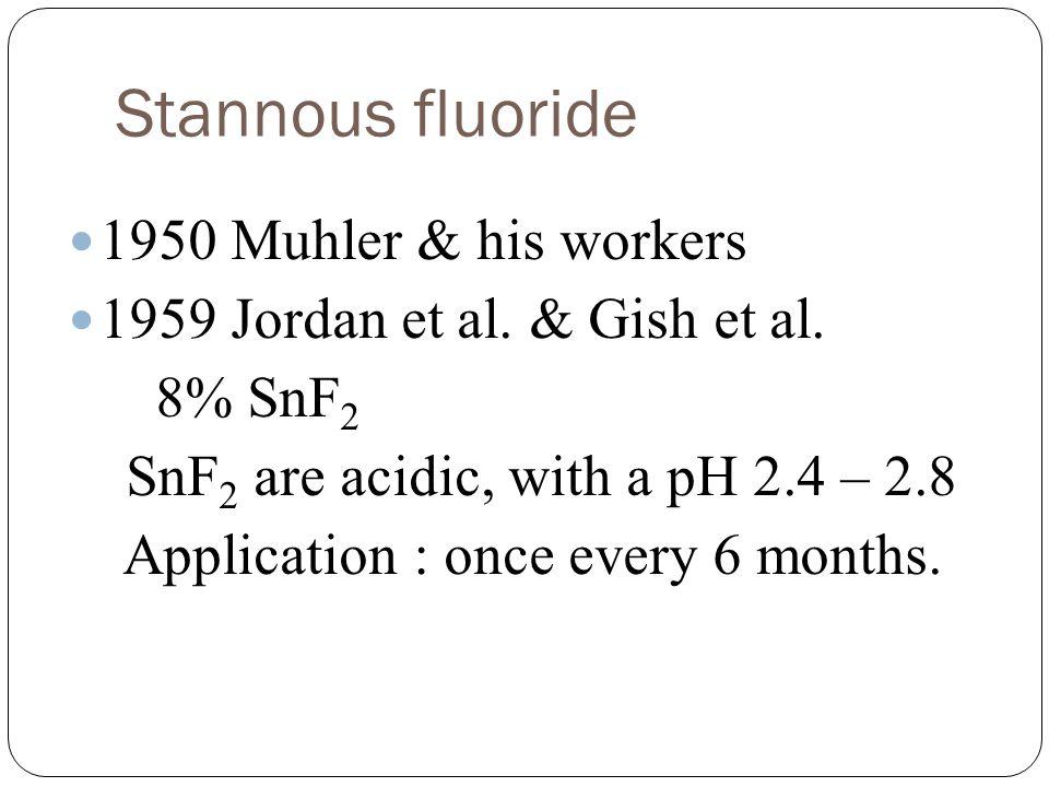 Stannous fluoride 1950 Muhler & his workers 1959 Jordan et al.