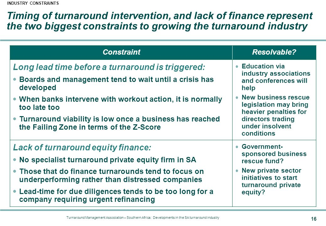 Turnaround Management Association – Southern Africa: Developments in the SA turnaround industry 16 ConstraintResolvable.