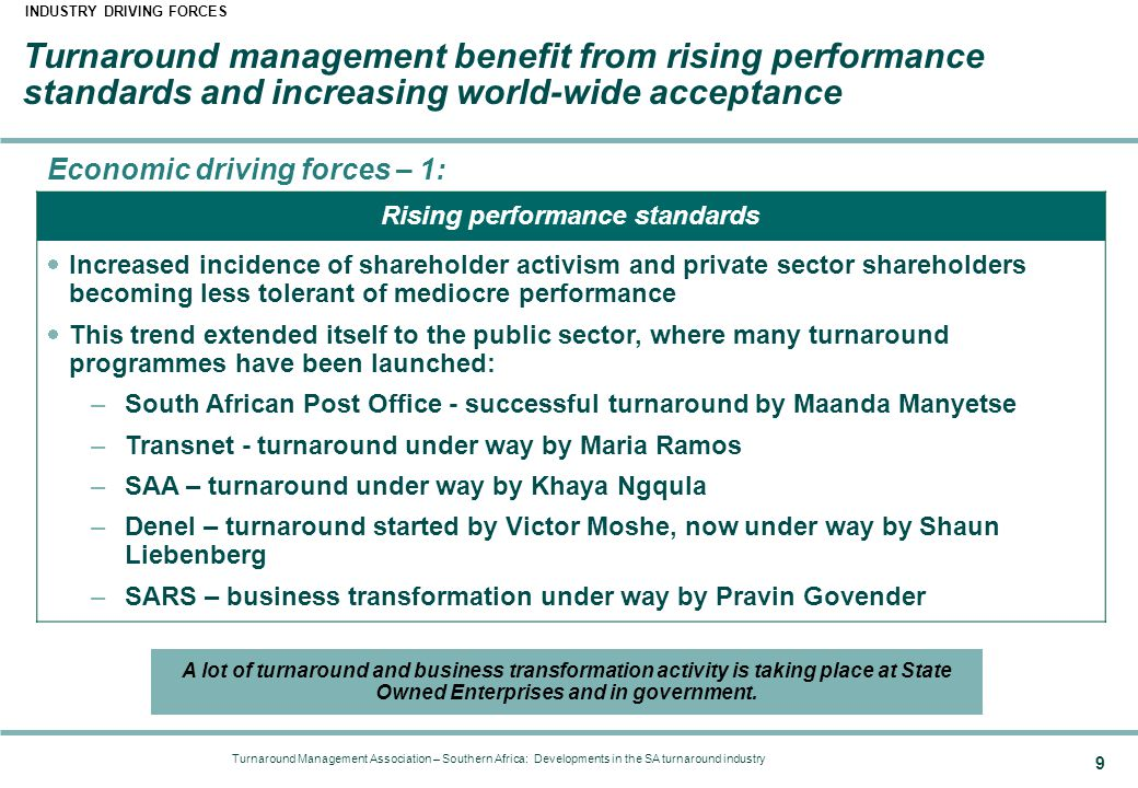 Turnaround Management Association – Southern Africa: Developments in the SA turnaround industry 9 Turnaround management benefit from rising performance standards and increasing world-wide acceptance INDUSTRY DRIVING FORCES Economic driving forces – 1: Rising performance standards  Increased incidence of shareholder activism and private sector shareholders becoming less tolerant of mediocre performance  This trend extended itself to the public sector, where many turnaround programmes have been launched: –South African Post Office - successful turnaround by Maanda Manyetse –Transnet - turnaround under way by Maria Ramos –SAA – turnaround under way by Khaya Ngqula –Denel – turnaround started by Victor Moshe, now under way by Shaun Liebenberg –SARS – business transformation under way by Pravin Govender A lot of turnaround and business transformation activity is taking place at State Owned Enterprises and in government.