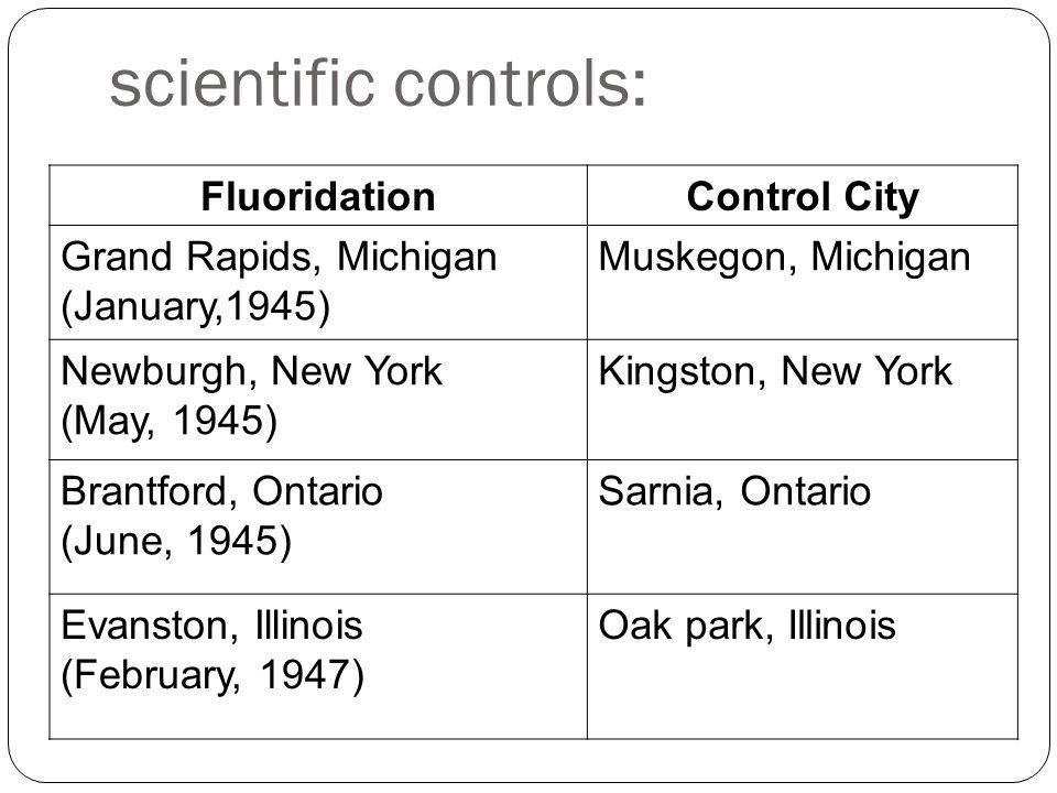 scientific controls: FluoridationControl City Grand Rapids, Michigan (January,1945) Muskegon, Michigan Newburgh, New York (May, 1945) Kingston, New York Brantford, Ontario (June, 1945) Sarnia, Ontario Evanston, Illinois (February, 1947) Oak park, Illinois