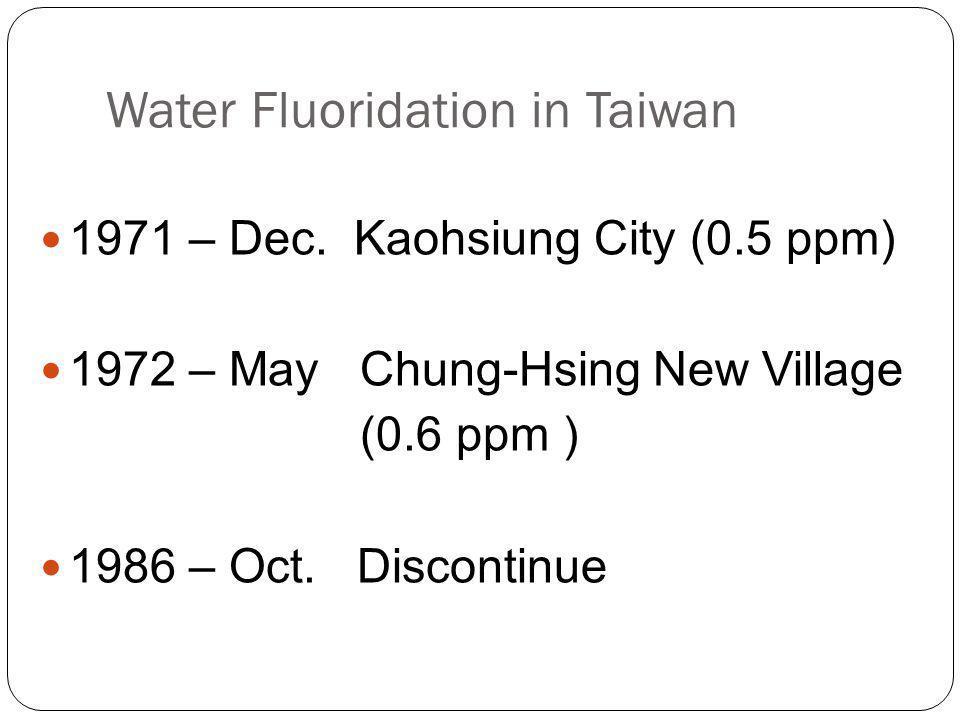 Water Fluoridation in Taiwan 1971 – Dec.