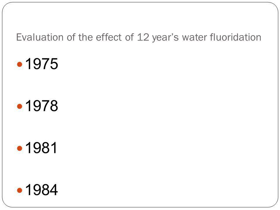 Evaluation of the effect of 12 year's water fluoridation 1975 1978 1981 1984