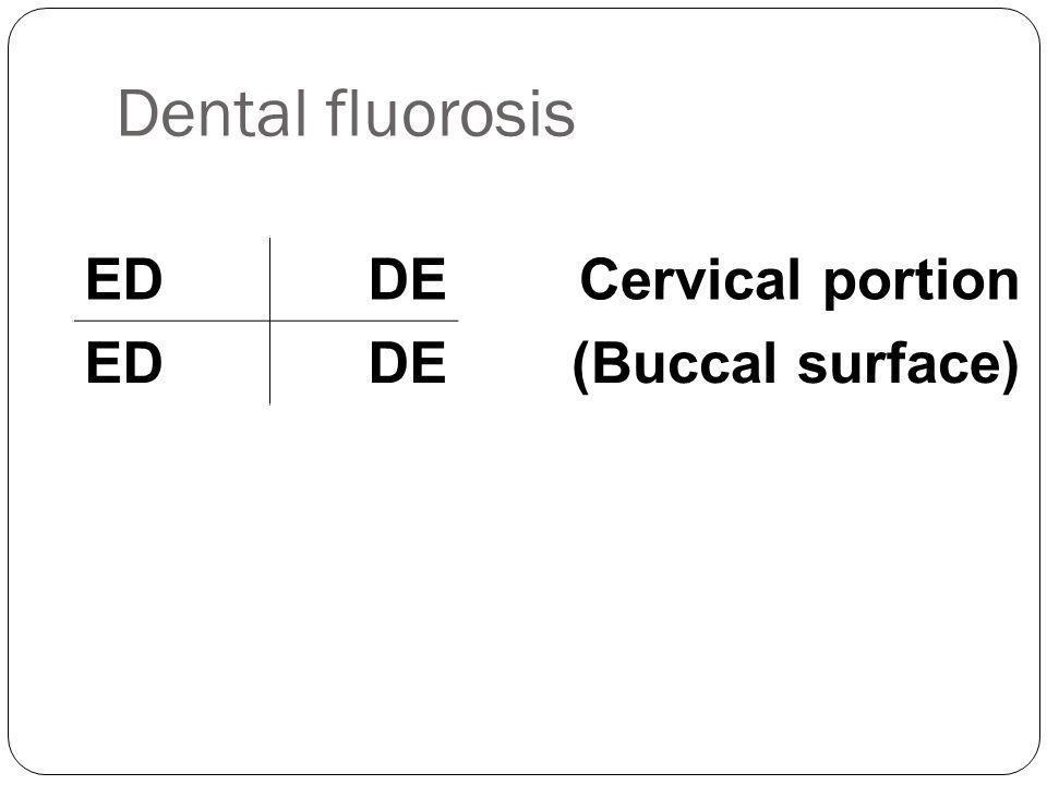 Dental fluorosis EDDE Cervical portion EDDE(Buccal surface)