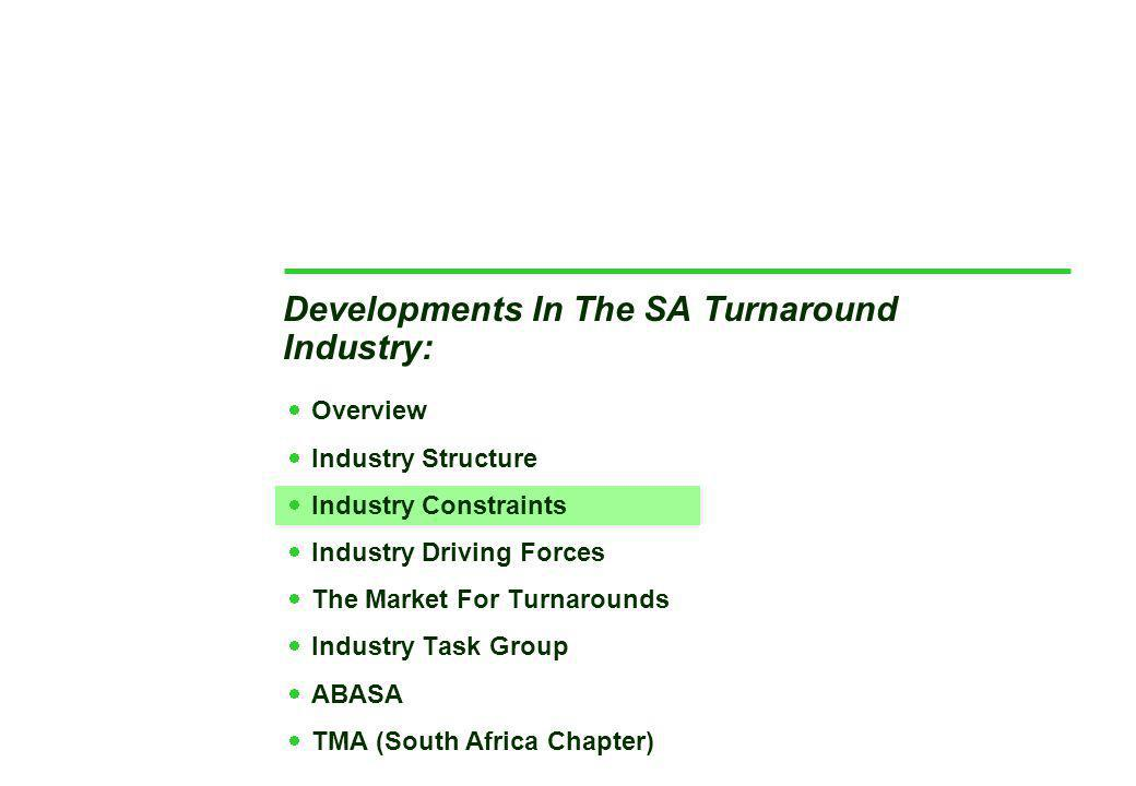 Developments In The SA Turnaround Industry:  Overview  Industry Structure  Industry Constraints  Industry Driving Forces  The Market For Turnarounds  Industry Task Group  ABASA  TMA (South Africa Chapter)