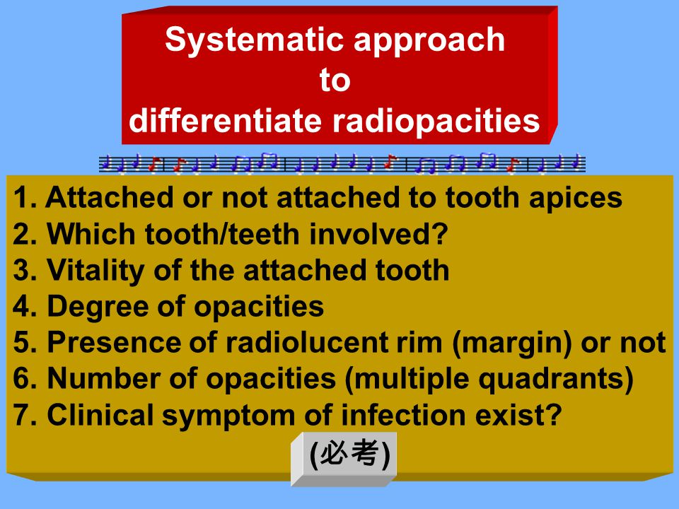 Systematic approach to differentiate radiopacities 1.