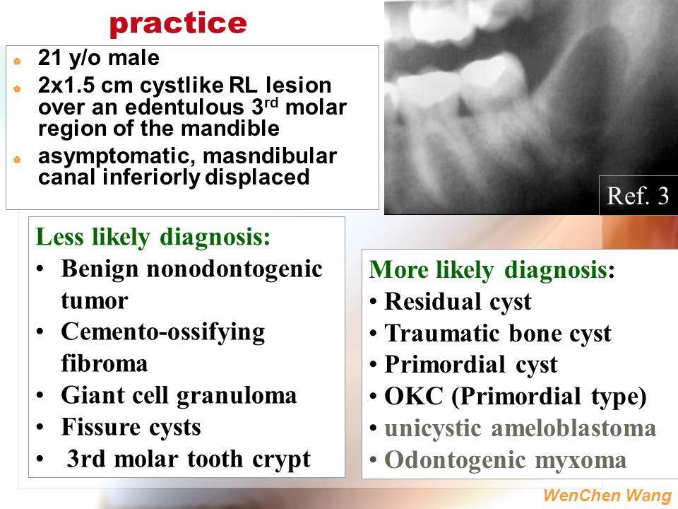 WenChen Wang practice  21 y/o male  2x1.5 cm cystlike RL lesion over an edentulous 3 rd molar region of the mandible  asymptomatic, masndibular can