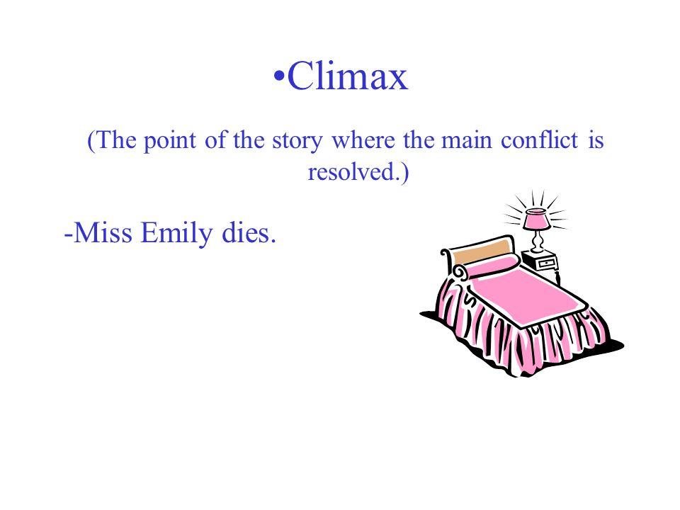 (Man vs. Man; Man vs. Himself; Man vs. Nature; Man vs. Society; Man vs. Supernatural ) -Miss Emily vs. her father -Miss Emily vs. herself -Miss Emily