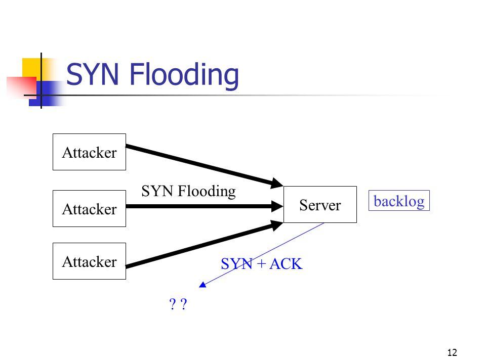 12 Attacker Server Attacker ? backlog SYN + ACK SYN Flooding