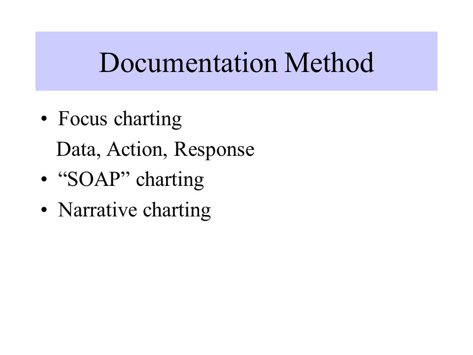 "Documentation Method Focus charting Data, Action, Response ""SOAP"" charting Narrative charting"