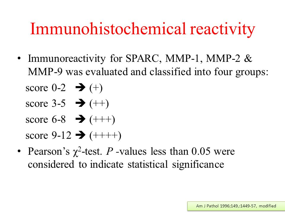 Immunohistochemical reactivity Immunoreactivity for SPARC, MMP-1, MMP-2 & MMP-9 was evaluated and classified into four groups: score 0-2  (+) score 3-5  (++) score 6-8  (+++) score 9-12  (++++) Pearson's χ 2 -test.
