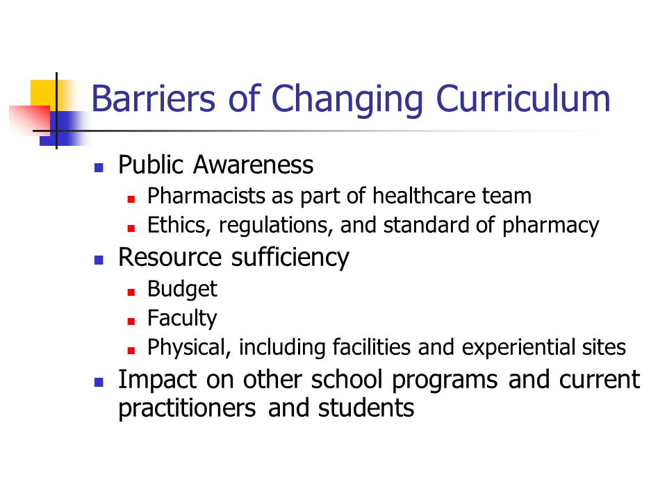 Barriers of Changing Curriculum Public Awareness Pharmacists as part of healthcare team Ethics, regulations, and standard of pharmacy Resource sufficiency Budget Faculty Physical, including facilities and experiential sites Impact on other school programs and current practitioners and students