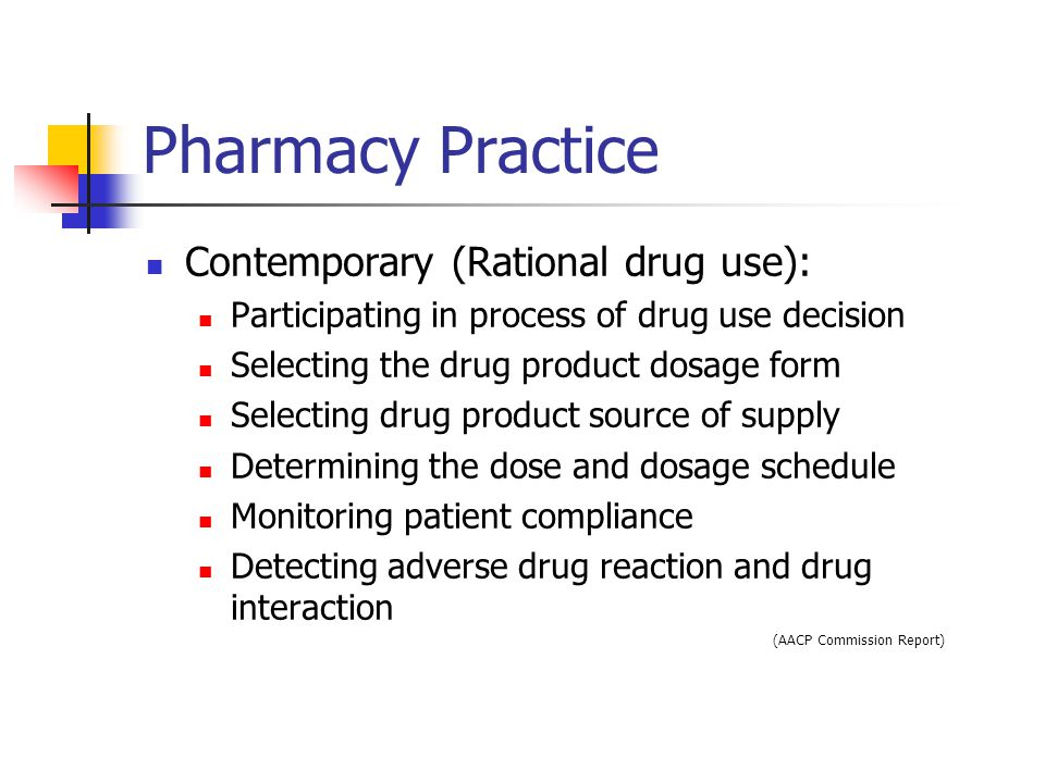 Pharmacy Practice Contemporary (Rational drug use): Participating in process of drug use decision Selecting the drug product dosage form Selecting drug product source of supply Determining the dose and dosage schedule Monitoring patient compliance Detecting adverse drug reaction and drug interaction (AACP Commission Report)