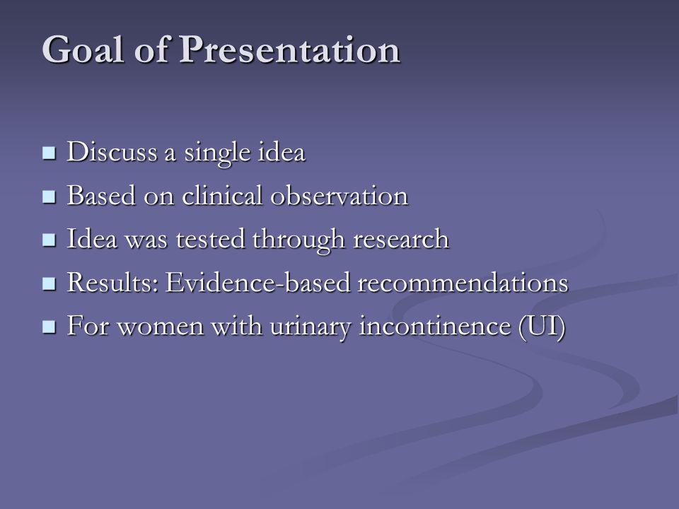 Goal of Presentation Discuss a single idea Discuss a single idea Based on clinical observation Based on clinical observation Idea was tested through r