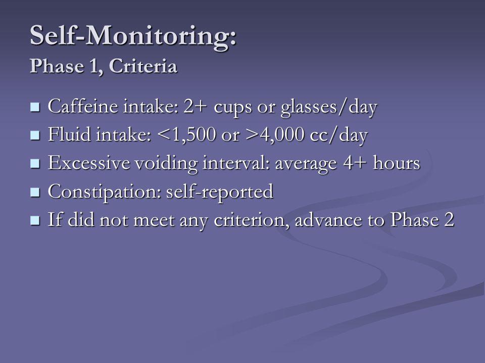 Self-Monitoring: Phase 1, Criteria Caffeine intake: 2+ cups or glasses/day Caffeine intake: 2+ cups or glasses/day Fluid intake: 4,000 cc/day Fluid in
