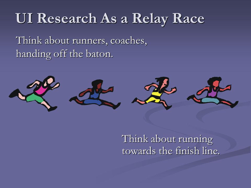 UI Research As a Relay Race Think about runners, coaches, handing off the baton. Think about running towards the finish line.