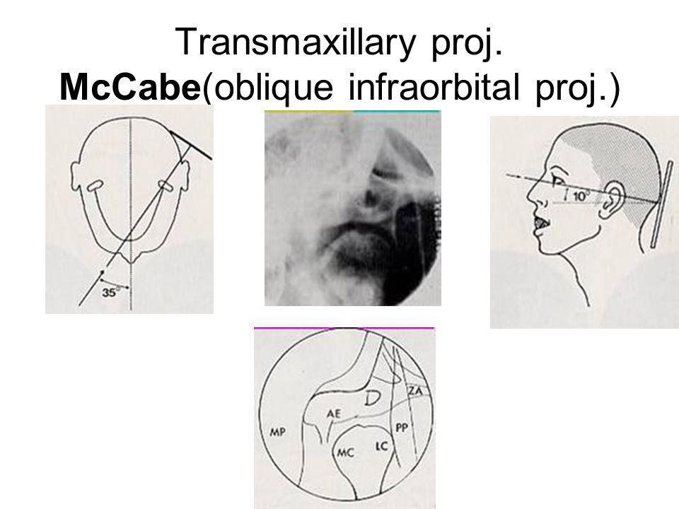Transmaxillary proj. McCabe(oblique infraorbital proj.)