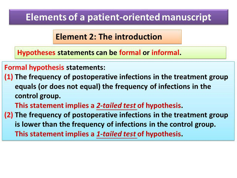Element 2: The introduction Hypotheses statements can be formal or informal.
