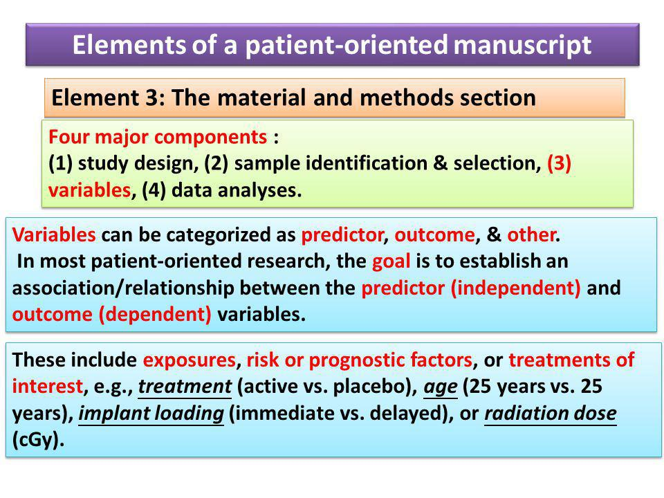 Element 3: The material and methods section Four major components : (1) study design, (2) sample identification & selection, (3) variables, (4) data analyses.