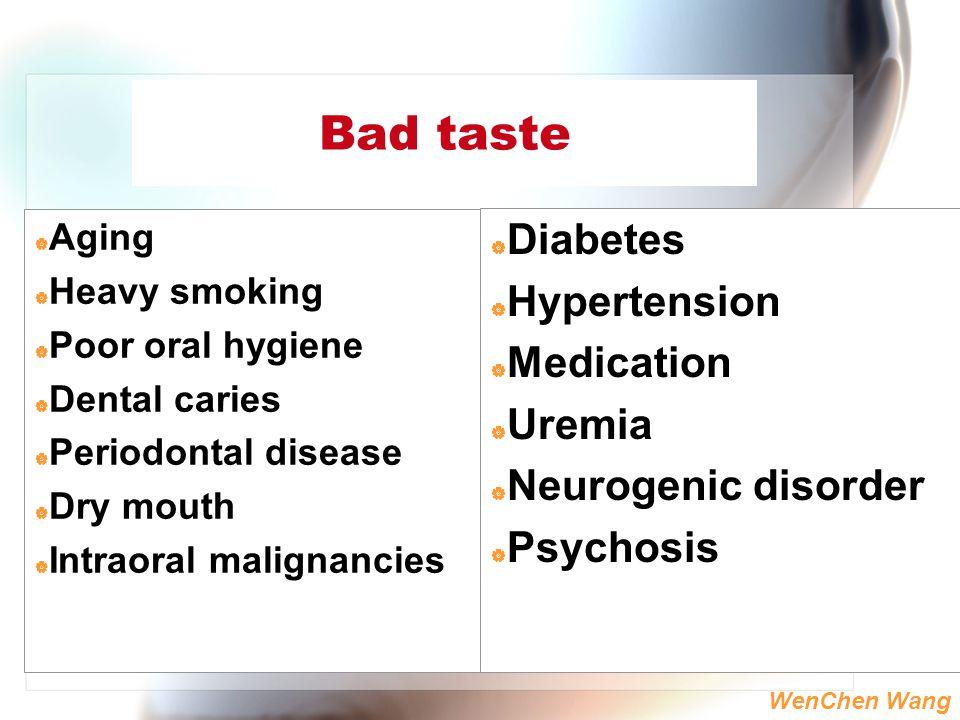 WenChen Wang Bad taste  Aging  Heavy smoking  Poor oral hygiene  Dental caries  Periodontal disease  Dry mouth  Intraoral malignancies  Diabet