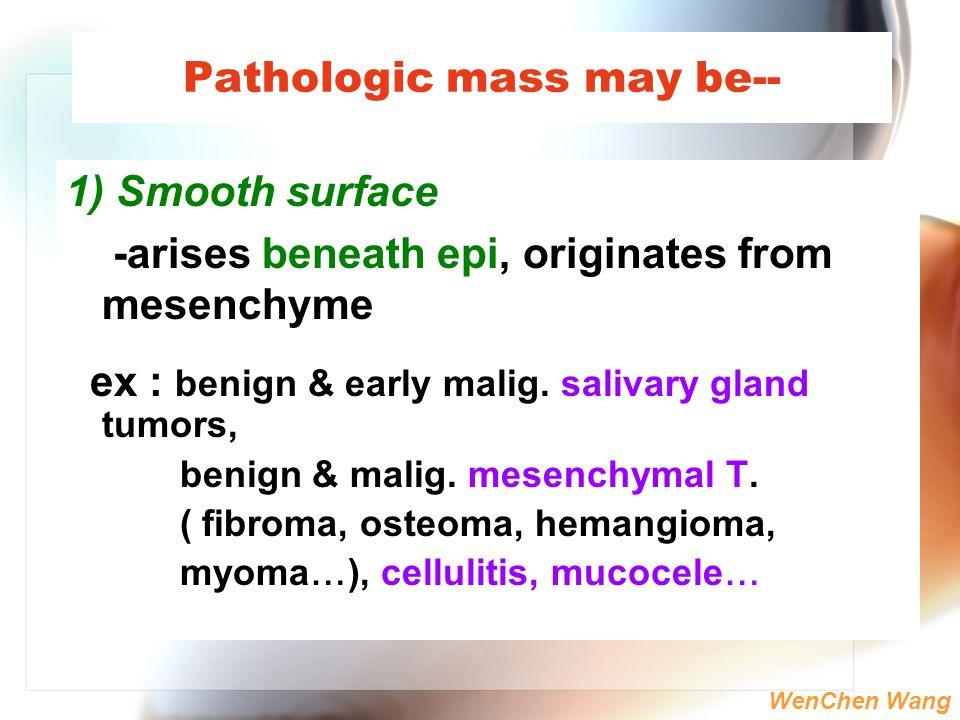 WenChen Wang Pathologic mass may be-- 1) Smooth surface -arises beneath epi, originates from mesenchyme ex : benign & early malig. salivary gland tumo