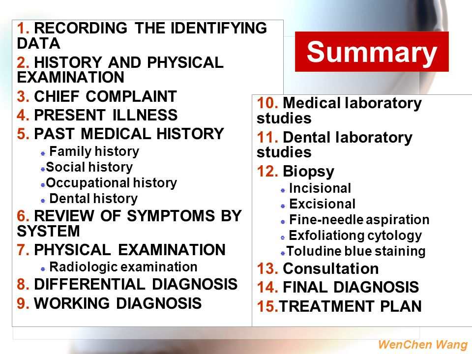 WenChen Wang 1. RECORDING THE IDENTIFYING DATA 2. HISTORY AND PHYSICAL EXAMINATION 3. CHIEF COMPLAINT 4. PRESENT ILLNESS 5. PAST MEDICAL HISTORY  Fam