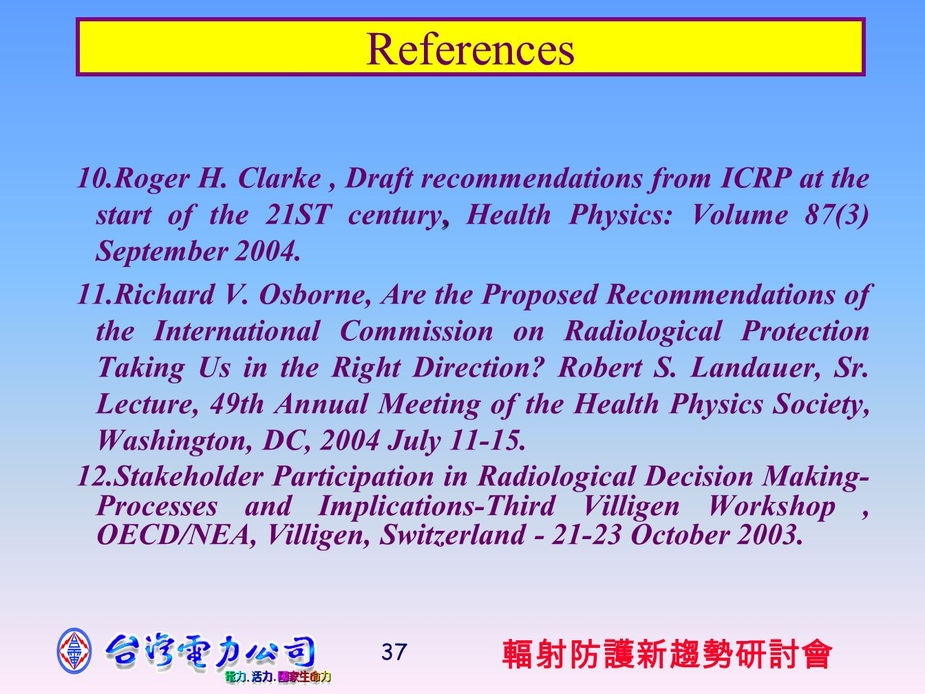 輻射防護新趨勢研討會 37 References, 10.Roger H.