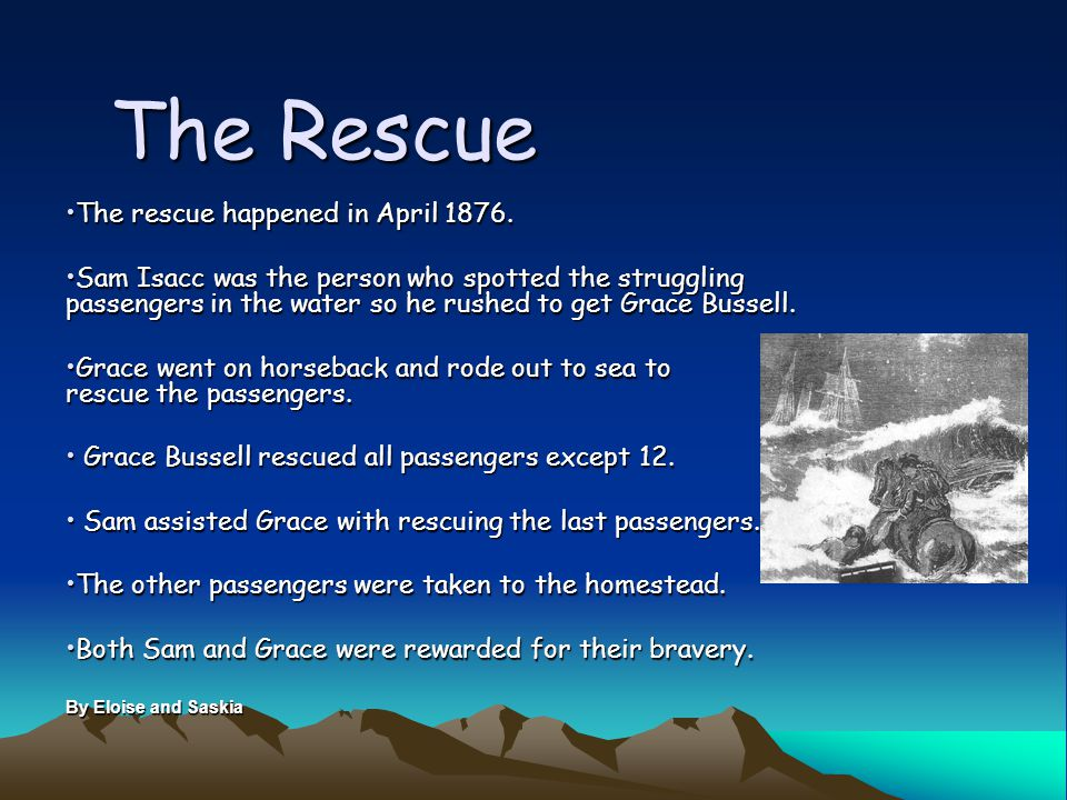 The Rescue The rescue happened in April 1876.The rescue happened in April 1876.
