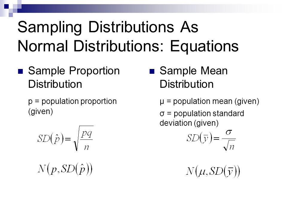 Sampling Distributions As Normal Distributions: Equations Sample Proportion Distribution p = population proportion (given) Sample Mean Distribution μ