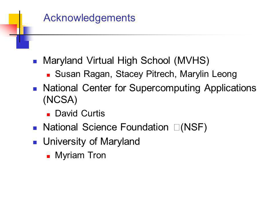 Acknowledgements Maryland Virtual High School (MVHS) Susan Ragan, Stacey Pitrech, Marylin Leong National Center for Supercomputing Applications (NCSA) David Curtis National Science Foundation (NSF) University of Maryland Myriam Tron