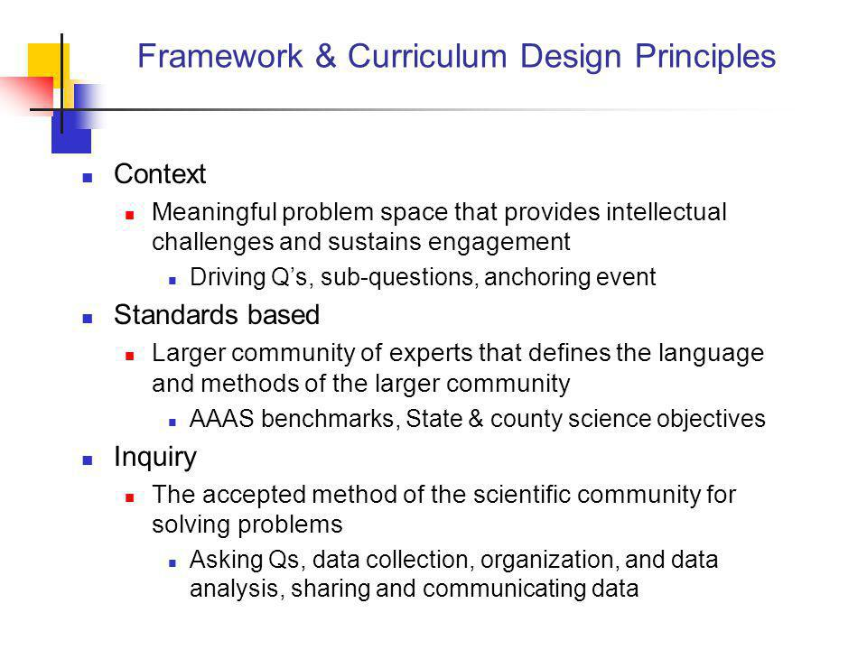 Framework & Curriculum Design Principles Context Meaningful problem space that provides intellectual challenges and sustains engagement Driving Q's, s