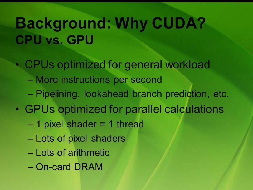 Background: Why CUDA. CPU vs.